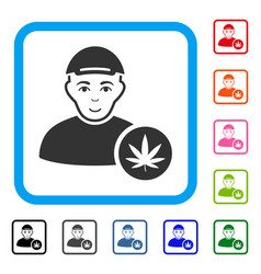 Marihuana dealer framed happiness icon vector