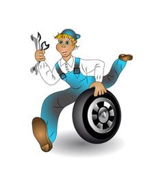 mechanic with wheel vector image