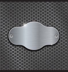Metal decorative plate on iron perforated vector