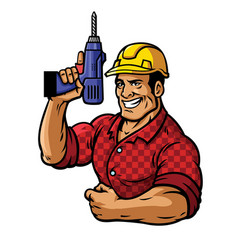 muscular construction worker with drill vector image