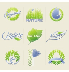 Nature labels badges with leaves flowers vector