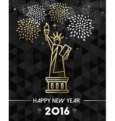 New year 2016 nyc usa travel statue liberty gold vector
