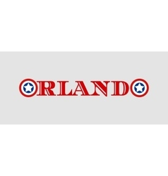 Orlando city name with flag colors styled letter O vector image