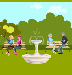 people are sitting on a bench in the park vector image vector image