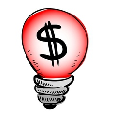 Red light bulb with dollar symbol inside vector image vector image