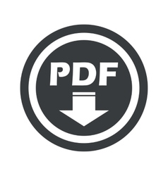 Round black pdf download sign vector