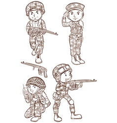 Soldiers with guns vector