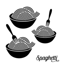 Spaghetti or noodle icons vector image vector image