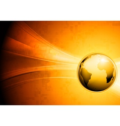 Technology waves background with globe vector image vector image
