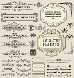 Vintage floral decorative border frames elements vector
