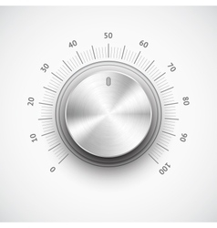 Volume button music knob with metal texture chrome vector image vector image