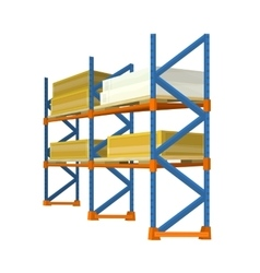 Warehouse racks loaded with boxes and crates vector