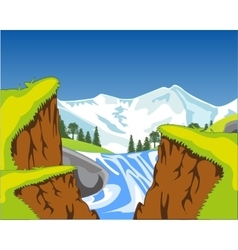 Waterfall in canyon vector