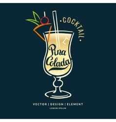 With hand drawn pina colada cocktail vector