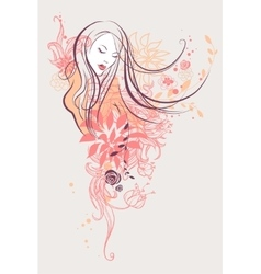 Abstract floral girl vector