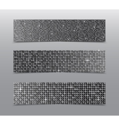 Horizontal set silver sequins banners glitter vector