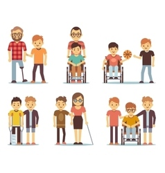 Disabled people and friends helping them vector