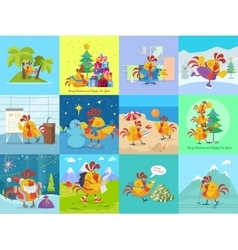 Rooster bird adventures set greeting cards vector