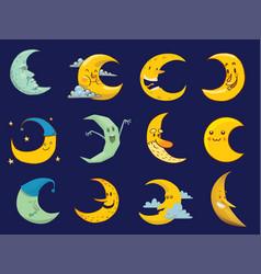 Different moon cartoon face month vector