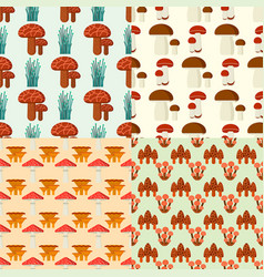 Mushrooms for cook food and poisonous nature meal vector