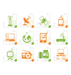 Stylized communication and technology icons vector