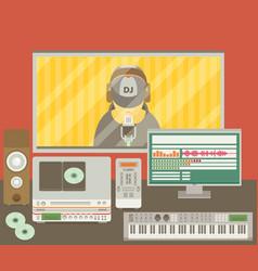 Sound recording studio vector