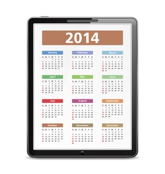 2014 calendar in tablet pc vector