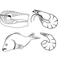 Set of icons with sea food vector