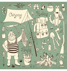 Fishing hunting camping set vector
