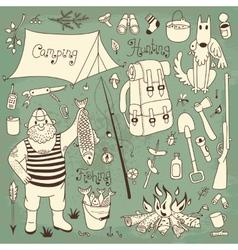 Fishing hunting camping set vector image