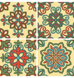 4 seamless tile patterns vector