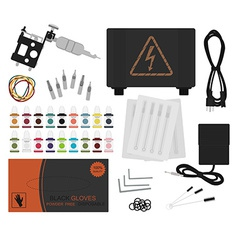 Set of professional tattoo equipment no outline vector