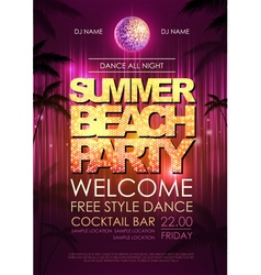 Typography disco background summer beach party vector