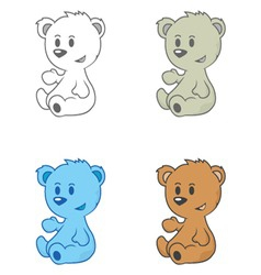 Cartoon drawing of cute little bears vector