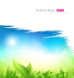 Painting brush green natural background vector image