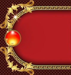 background frame with golden pattern vector image