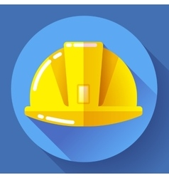 Yellow construction worker helmet icon flat vector