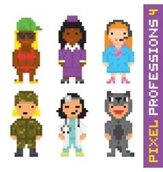 Pixel art style professions set 4 vector