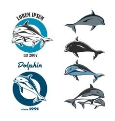Dolphin Emblem Set vector image