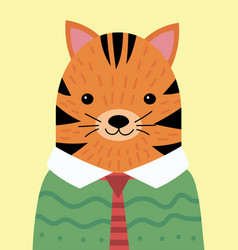 A cartoon portrait of a tiger in a sweater vector