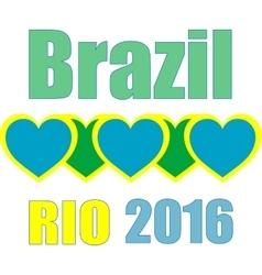 Abstract love heart ribbon flag brazil rio 2015 vector