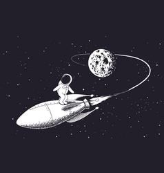 astronaut flies on rocket vector image