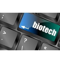 Bio tech message on enter key of keyboard keys vector