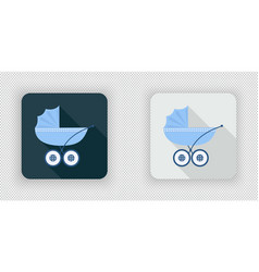 Blue baby carriage for newborn baby icon vector