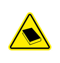 Book warning sign yellow reading hazard attention vector