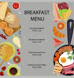 breakfast menu flat design vector image