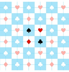 Card Suits Blue White Chess Board Background vector image