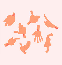 cartoon hands in different gesture vector image