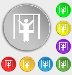child swinging icon sign Symbol on eight flat vector image vector image
