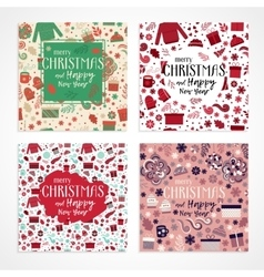 Christmas greeting card set vector